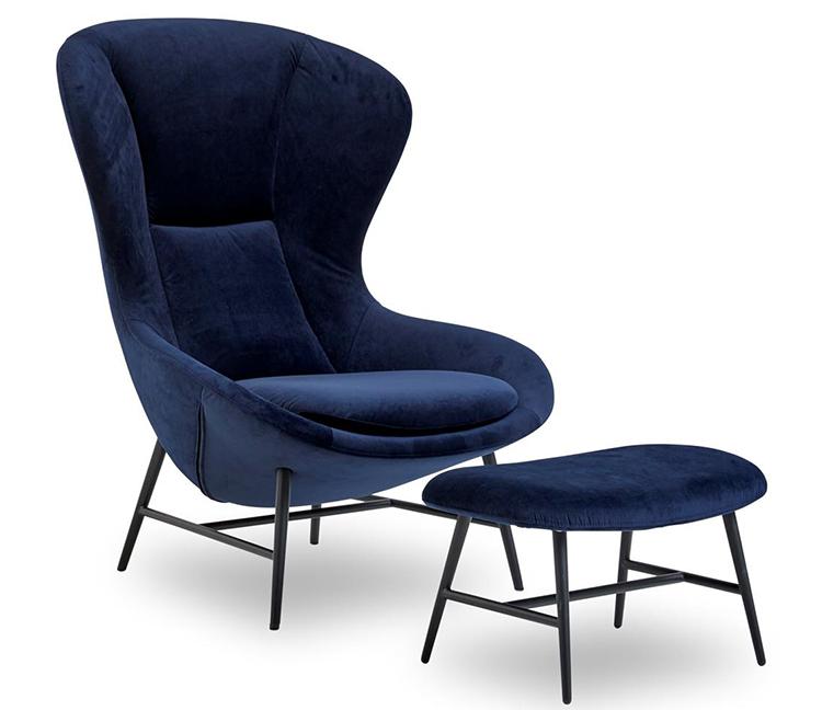 Kongelig lænestol i blå velour
