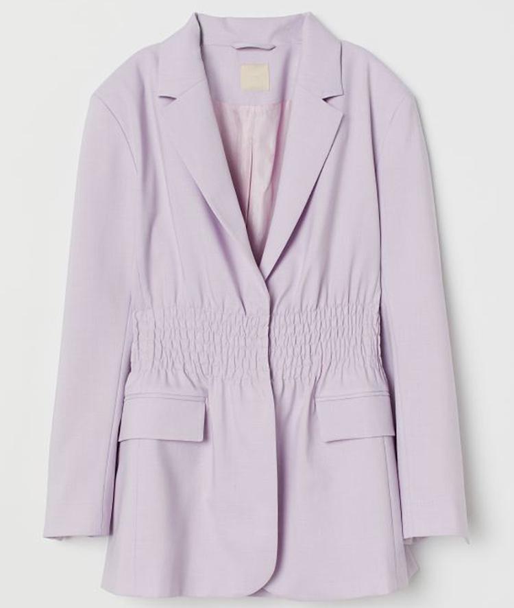 Feminint jakkesæt i lilla bomuld