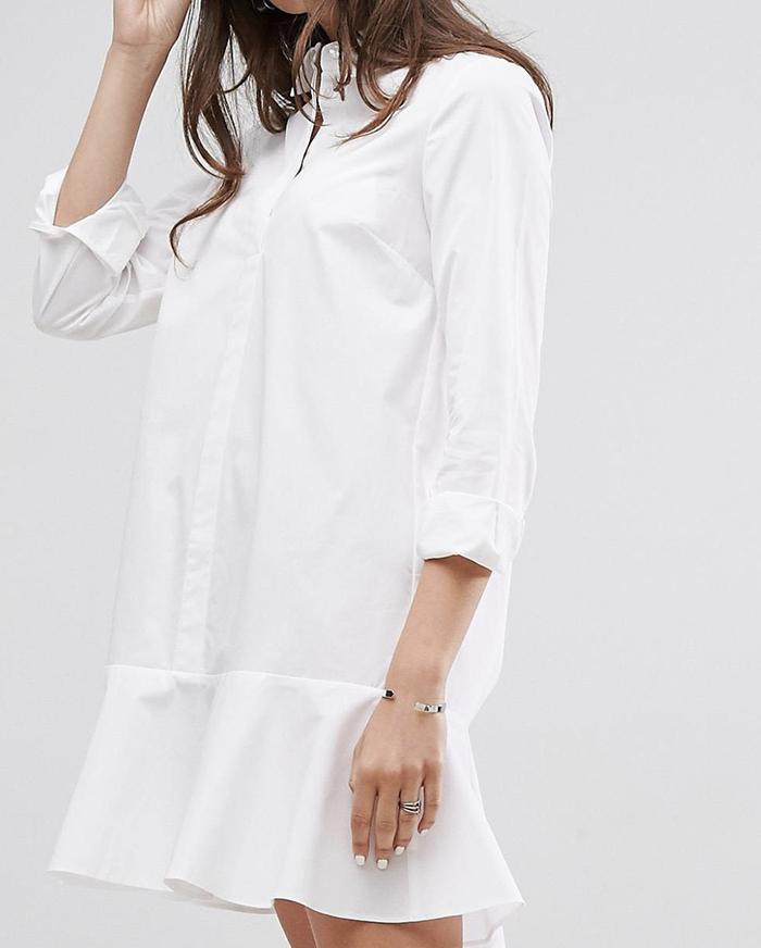 Klassisk hvid skjortekjole