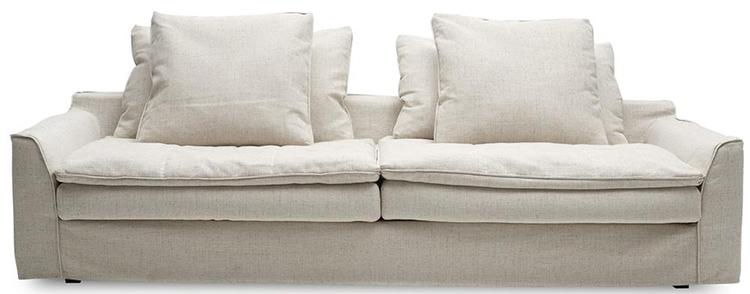 Lille og smuk sofa i lyst stof