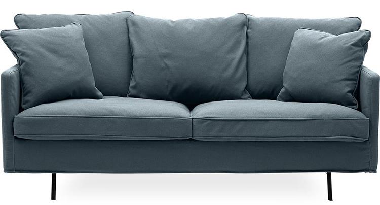 Smuk velour sofa i støvet blå