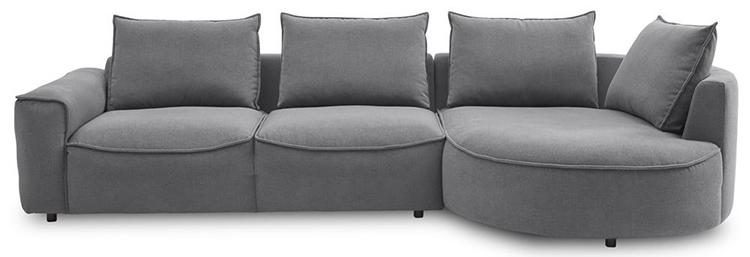 Veldesignet chaiselong sofa i grå velour