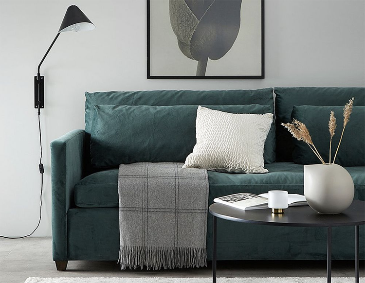 billig velour sofa i god kvalitet