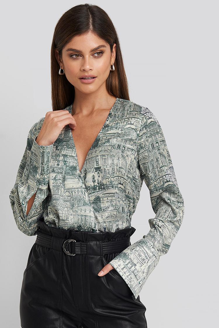 Smuk bluse med flot print
