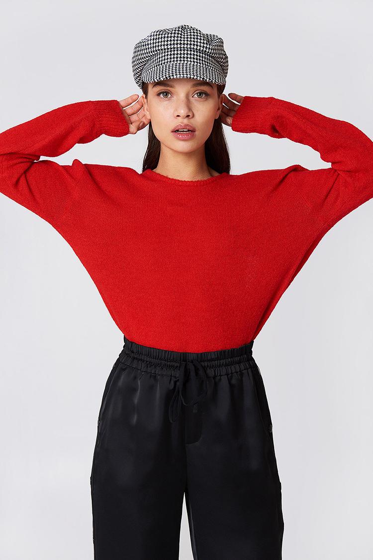 Sexet rød bluse i strik