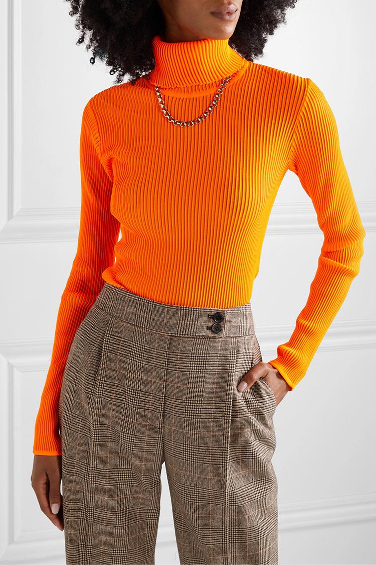 Orange bluse med høj hals