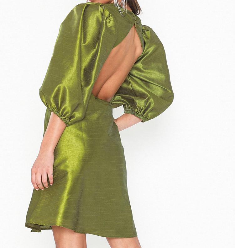 Metallic kjole i olivengrøn