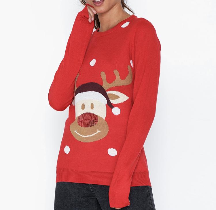 Sød rød julesweater med Rudolf på