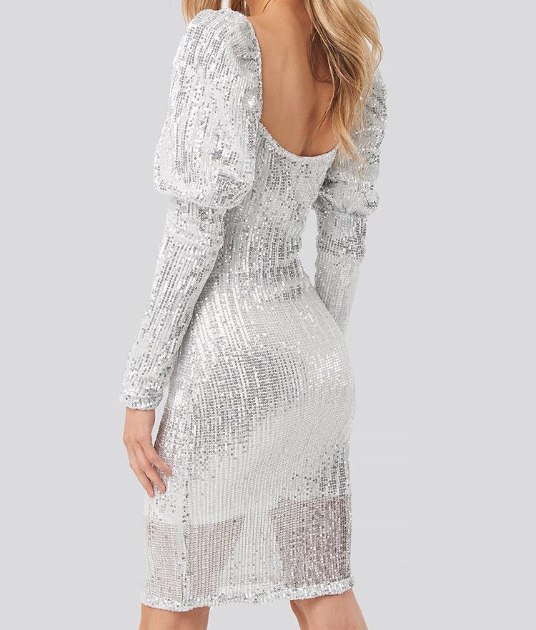 Sølv glimmer kjole til nytår