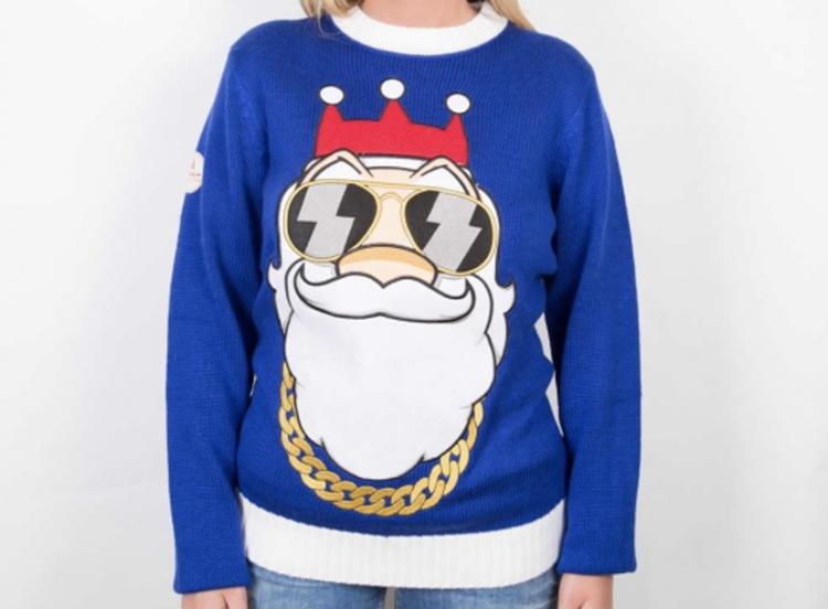 Sjov julesweater med gangster Santa