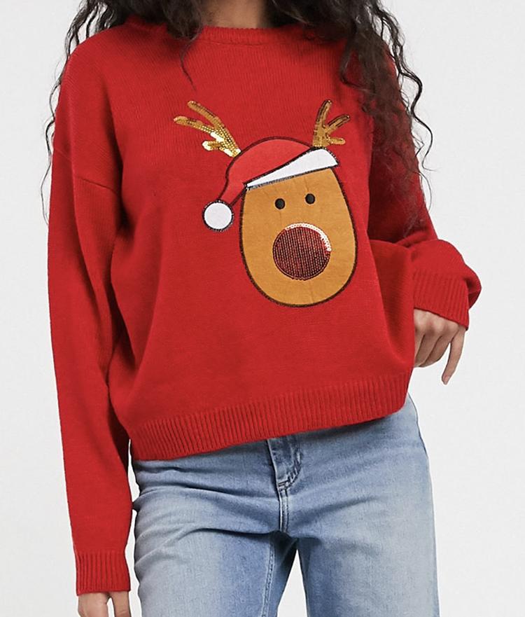 Skøn julesweater med diskrete palietter