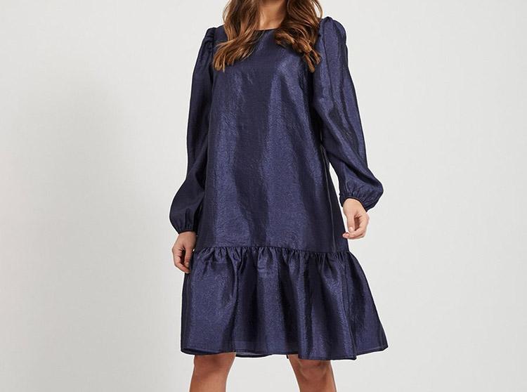 Smuk blå ballon-kjole