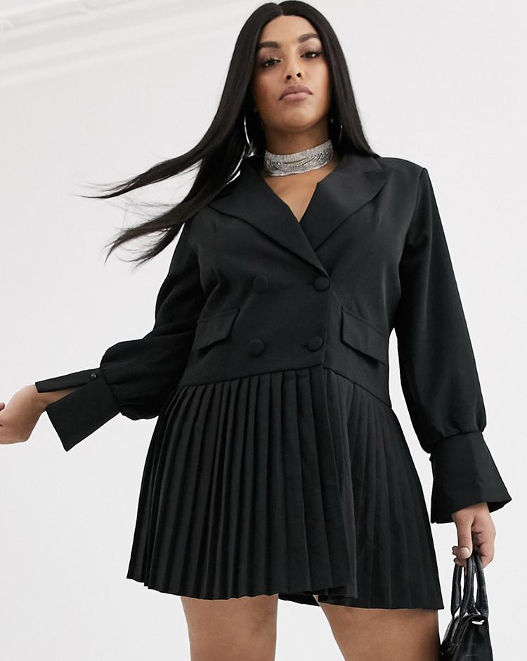 Smuk plus size kjole i blazer design