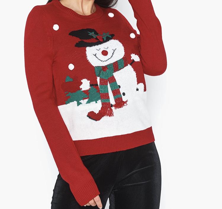 Snemand-sweater med snevejr til