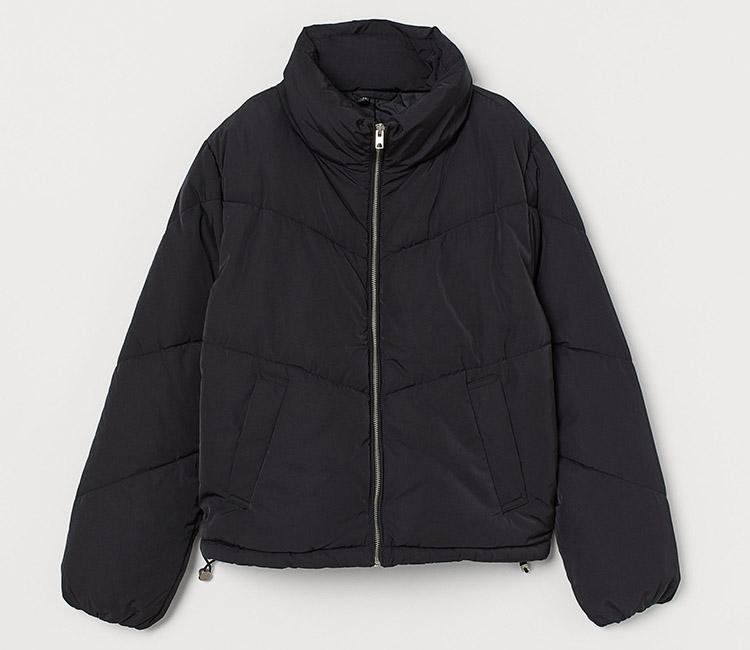 Blød sort vatteret jakke