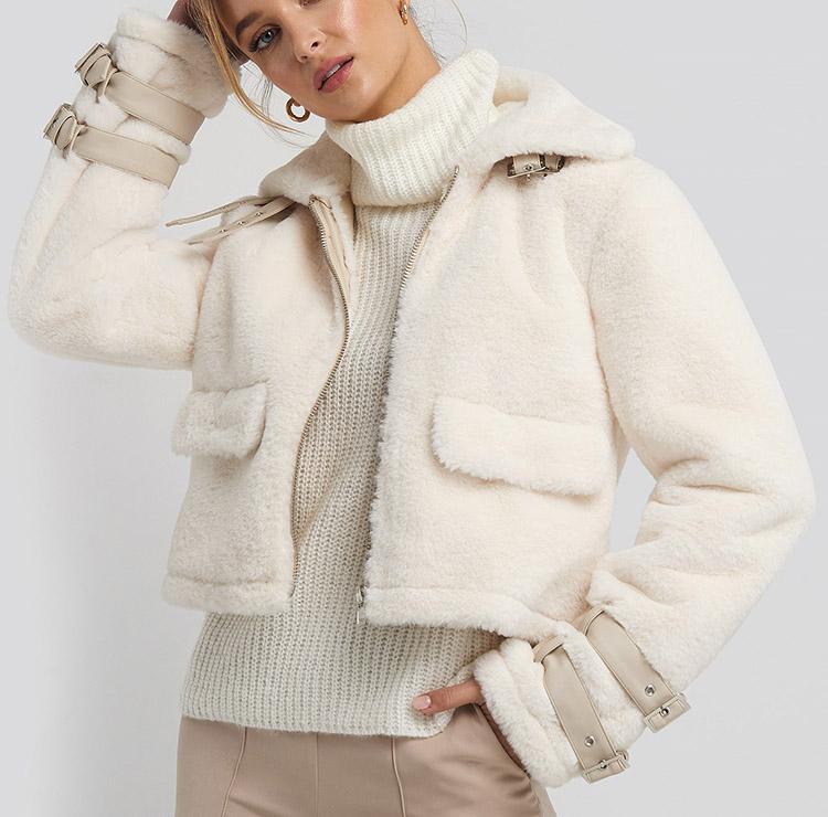 Feminin og plysset vinterjakke til damer