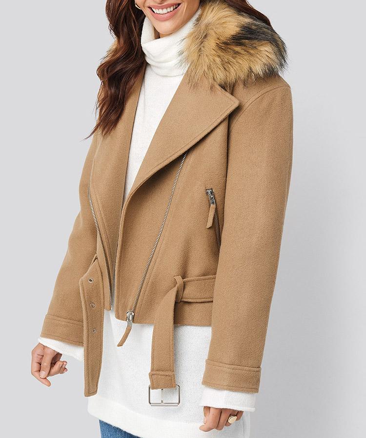 Klassisk vinterjakke med pelskrave