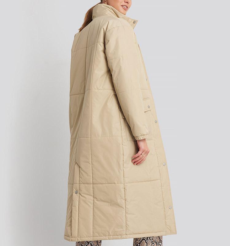 Lang frakke med dun til damer