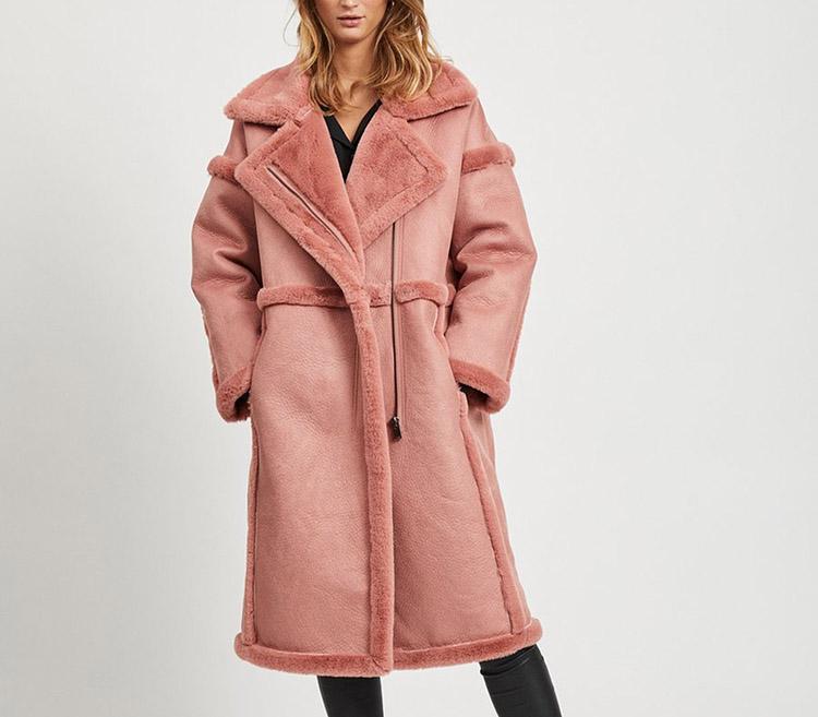 Lang lyserød vinterjakke til damer