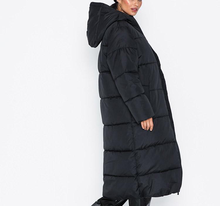 Lang sort dunjakke til damer