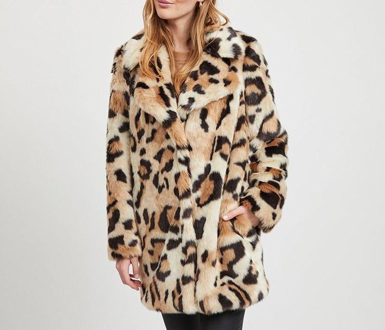Smuk leopard kunstpels til damer