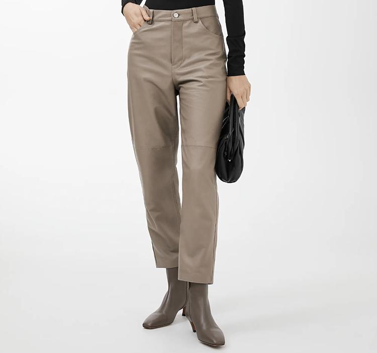 Klassiske naturfarvede læderbukser til kvinder