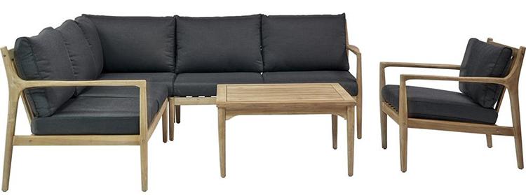 Rumlig og veldesignet loungesæt i høj kvalitet