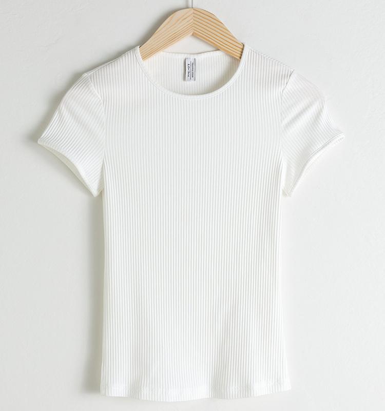 Tætsiddende blød bomulds t-shirt med rib