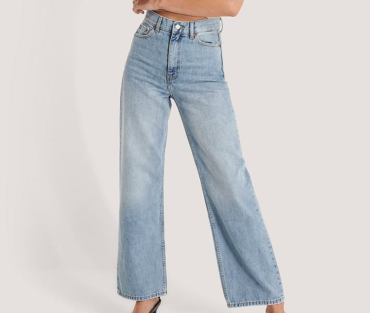 Brede højtaljede jeans i lys denim