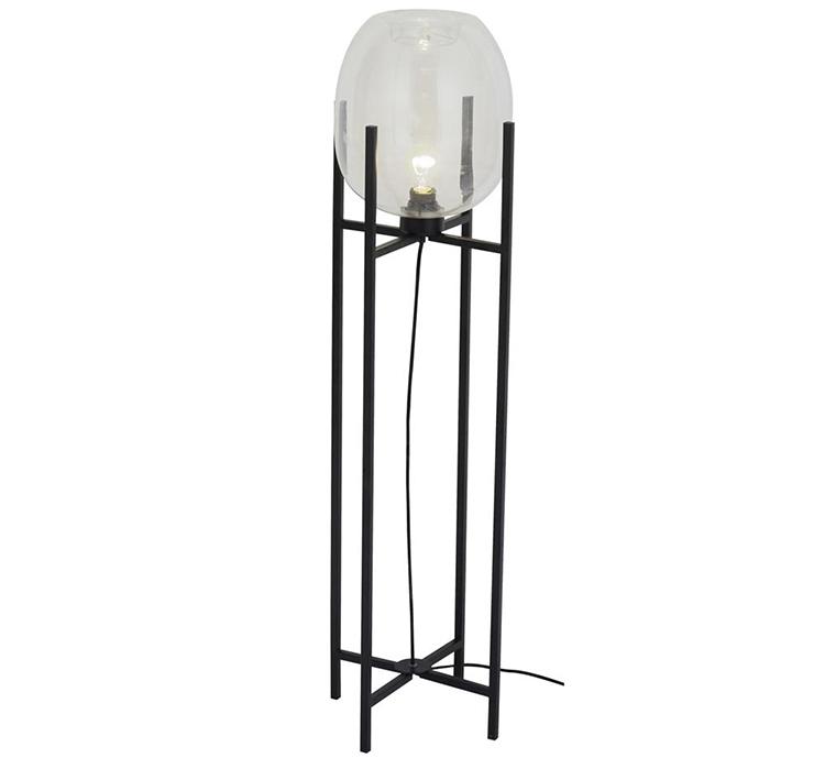 Dekorativ gulvlampe med rund lampeskærm i glas