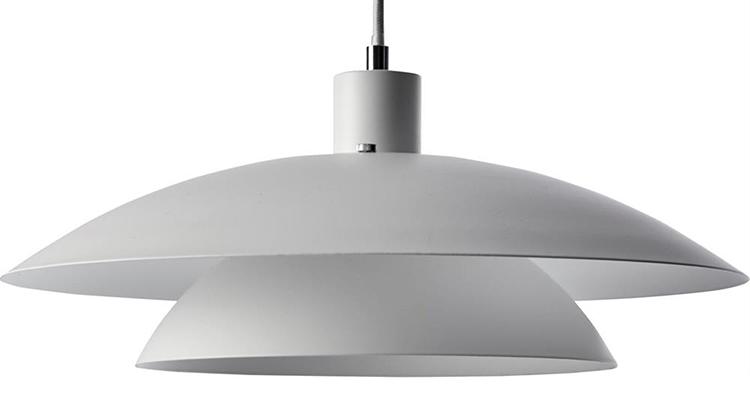 Elegant loftlampe med hvid skærm