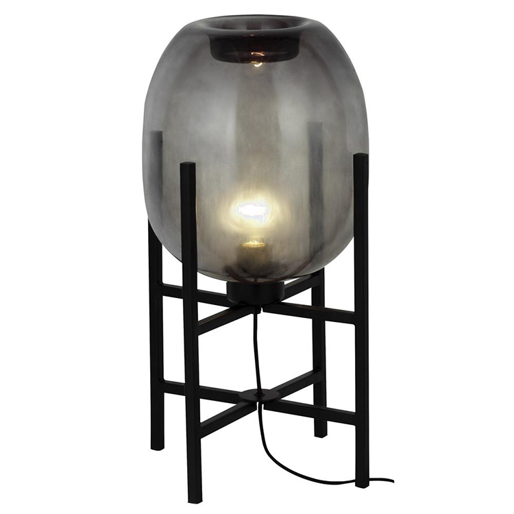 Kunstnerisk bordlampe med bobbelformet lampeskærm