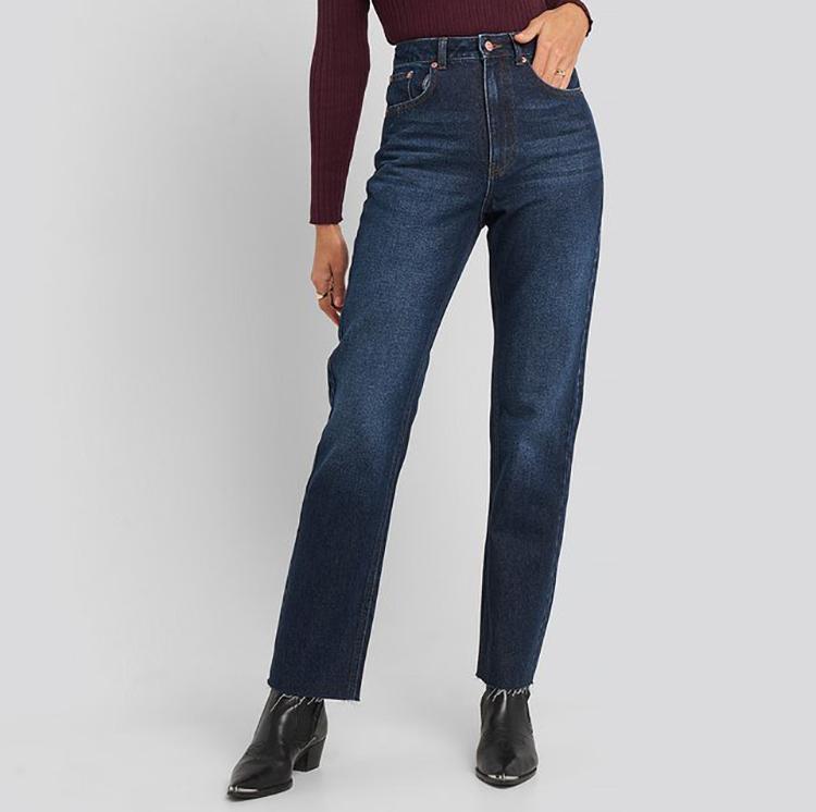 Lige jeans i mørk denim