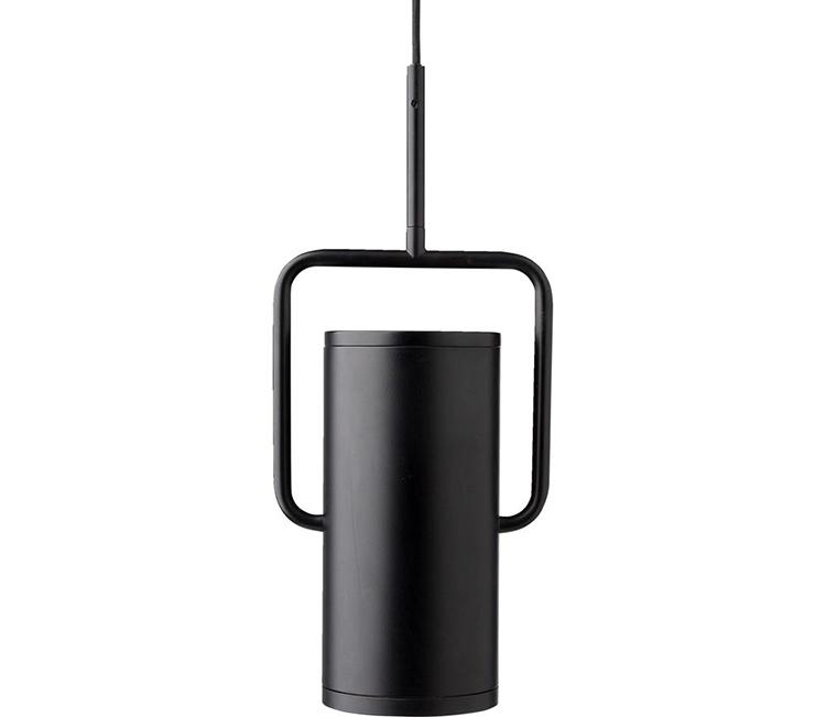 Minimalistisk og spinkel loftlampe i sort stål