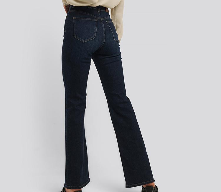 Stramme jeans med vidde ben