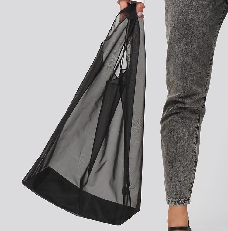 Billig gennemsigtig shopper taske i sort