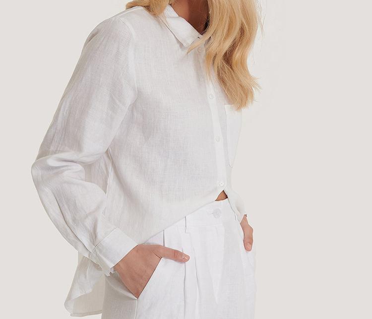Blød hvid skjorte kvalitetspræget hør