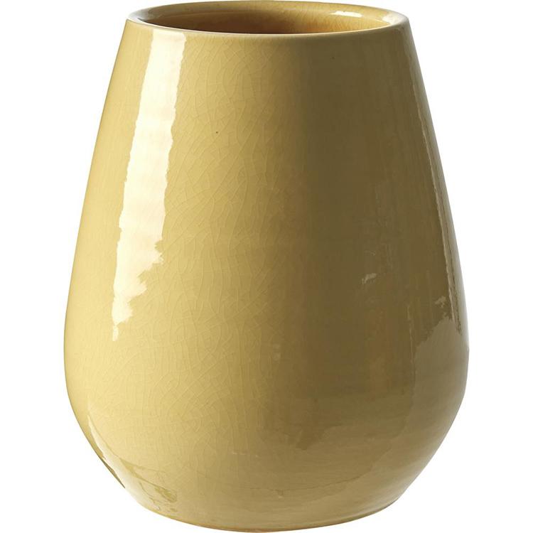 Buttet gul vase i keramik
