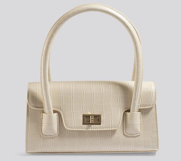 Elegant præget håndtaske lys kunstlæder