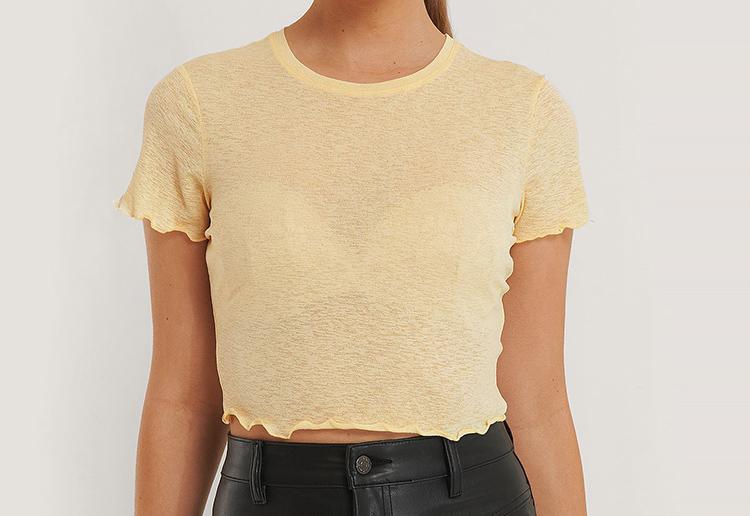 Gennemsigtig gul mavebluse med t-shirt ærmer
