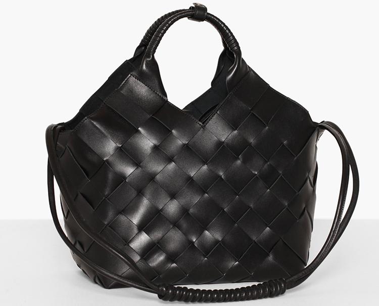 Lækker flettet luksustaske i sort læder