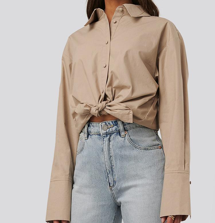 Lækker jordfarvet bomuldsskjorte til kvinder