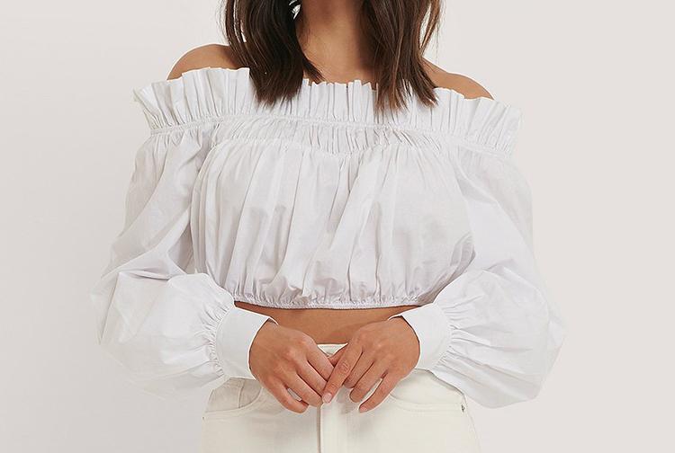 Off shoulder bluse i skjortestof