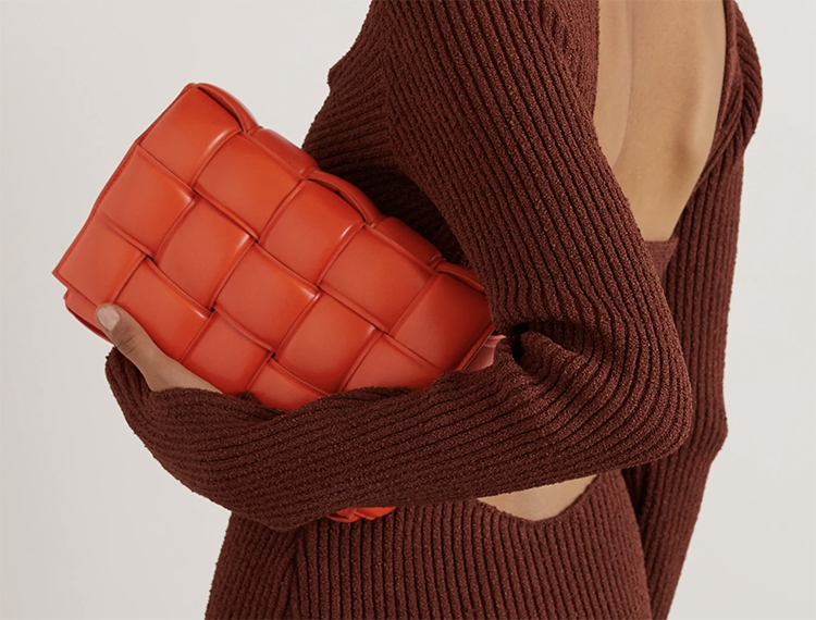 Orange Bottega Veneta skuldertaske i flettet læder