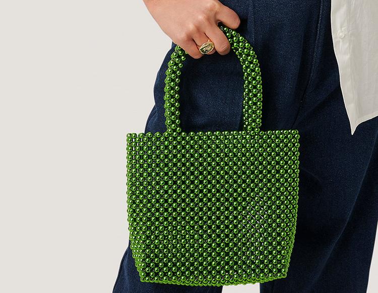 Shiny grøn håndtaske af tusind perler