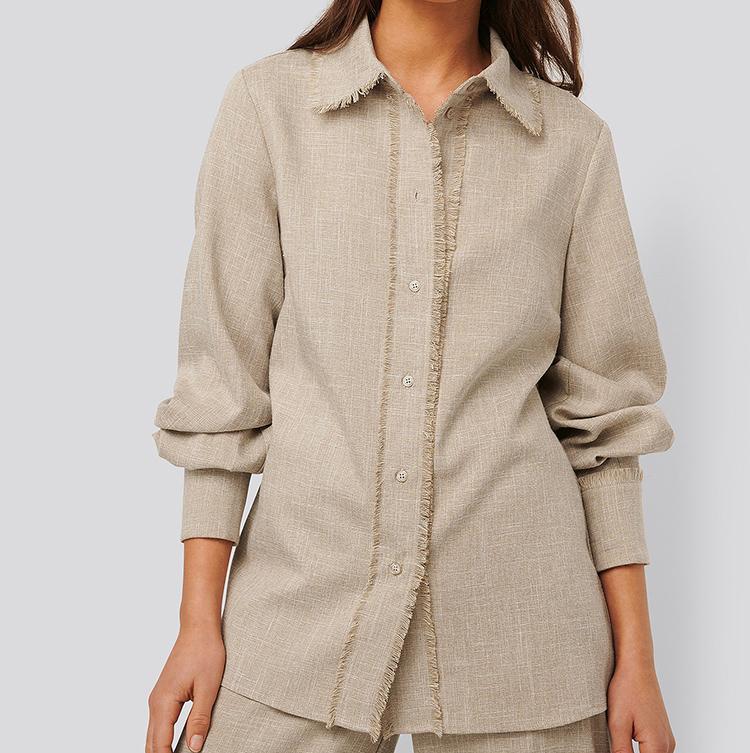 Smuk boho-skjorte i blødt hørblend