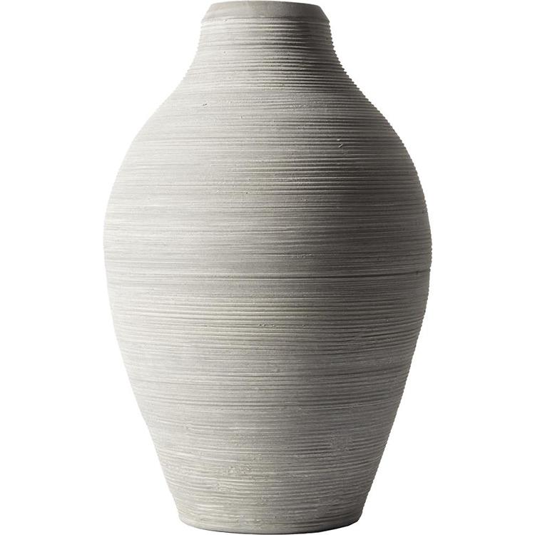 Smuk stor vase i grå terracotta