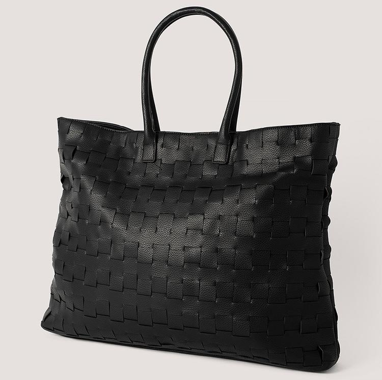 Stor flettet shopper-taske i kunstlæder