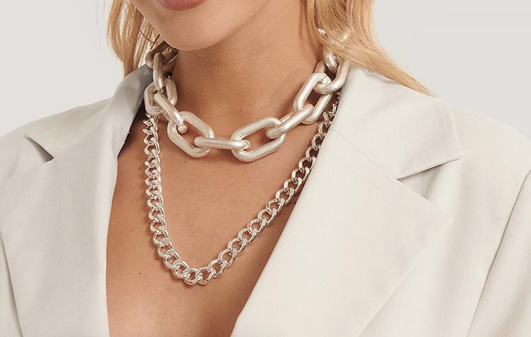 Halskæde sæt med to kraftige sølvhalskæder