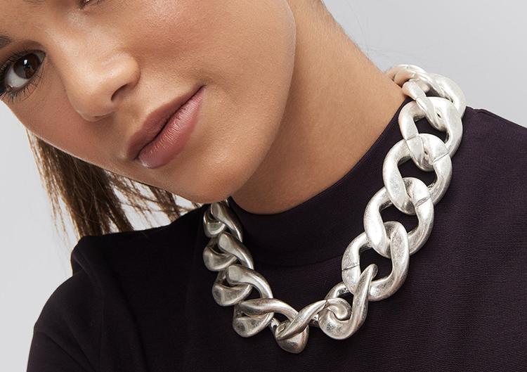 Mega kraftig halskæde i børstet sølv